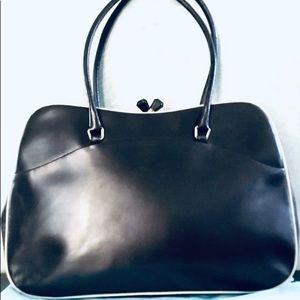 PRADA Vintage Vitello Frame black leather handbag